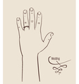 Man hand wearing a wedding ring drawing vector image