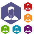 manager icons set vector image
