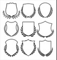 medieval shields and laurel wreaths collection 2 vector image vector image
