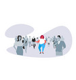 obese fat woman standing out from crowd vector image
