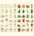 organic food and fast food icons food and drink vector image vector image
