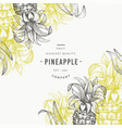 pineapples and tropical leaves design template vector image