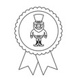 rosette badge with leprechaun st patricks cartoon vector image vector image