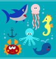 set with cartoon fishs vector image