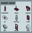 smart home color outline isometric icons vector image vector image