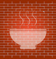 soup sign whitish icon on brick wall as vector image vector image