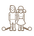 stop child abuse children with chain and ball vector image