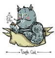 Tough Cat - hand drawn vector image vector image