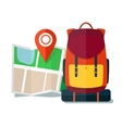 Travel Map with backpack Flat Icons Tourist vector image