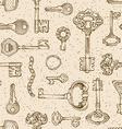 Vintage keys pattern vector image