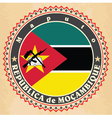 Vintage label cards of Mozambique flag vector image vector image