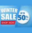 Winter sale banner design with snow in blue