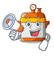 with megaphone character cartoon modern cooker for vector image vector image