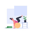 woman doing exercises with ball wearing sport vector image vector image