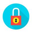 padlock secure flat circle icon vector image