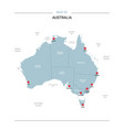 australia map with red pin vector image