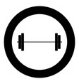 barbell icon black color in circle vector image vector image