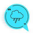 black line cloud with rain icon isolated on white vector image vector image