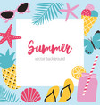 bright colored square background with summer vector image