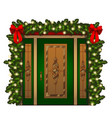 brightly decorated entrance door isolated on white vector image vector image