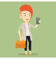 Business woman making selfie vector image vector image
