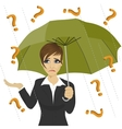 businesswoman under question marks with umbrella vector image vector image