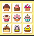 cakes muffins sweets icons 1 vector image