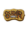 cane sugar wooden signboard inscription sugarcane vector image