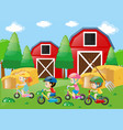 children riding bike in the farm vector image vector image