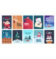 christmas greeting cards holiday postcards santa vector image
