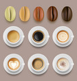 coffee beans and cups hot drinks arabica coffee vector image vector image