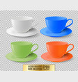 colored ceramic cups for tea on a transparent vector image vector image