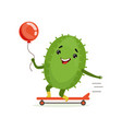 cute cactus skateboarder funny plant character vector image vector image