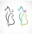 dog and cat on a white background pet animals vector image vector image