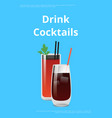 drink cocktail poster bloody mary and whiskey cola vector image vector image