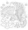 fantasy drawing flying owl from fairyland vector image