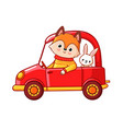 fox with a hare ride on a red car vector image vector image