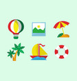 fun vacation icon set vector image vector image
