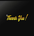 gold thank you text design vector image