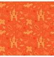 halloween seamless orange pattern vector image