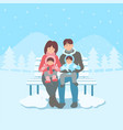 happy family on bench in winter landscape vector image