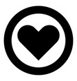 heart icon black color in circle vector image vector image