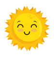 isolated yellow kawaii sun face vector image vector image