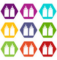 ketchup mustard squeeze bottle icons set 9 vector image vector image