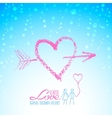 Lipstick heart with arrow on glass vector image vector image