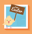little chick easter with wooden label character vector image vector image
