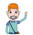 man with beard and hairstyle vector image vector image