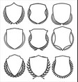 medieval shields and laurel wreaths collection 3 vector image vector image
