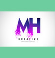 mh m h purple letter logo design with liquid vector image vector image