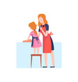 mother teaching daughter to wash dishes mom and vector image vector image